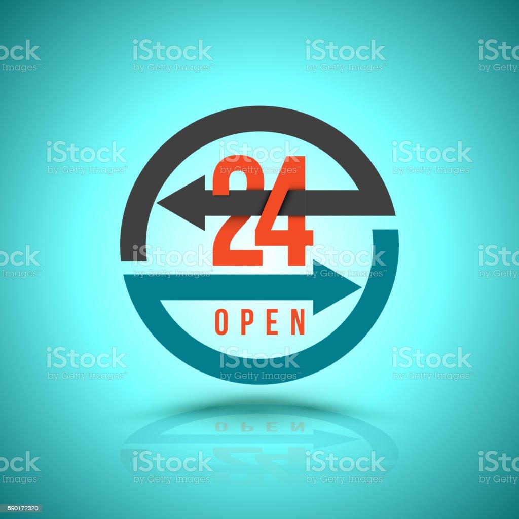 Arrow Circle Service 24 hour open Icon vector art illustration
