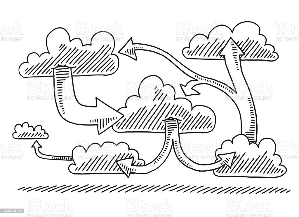 Arrow Conncetions Between Clouds Drawing vector art illustration