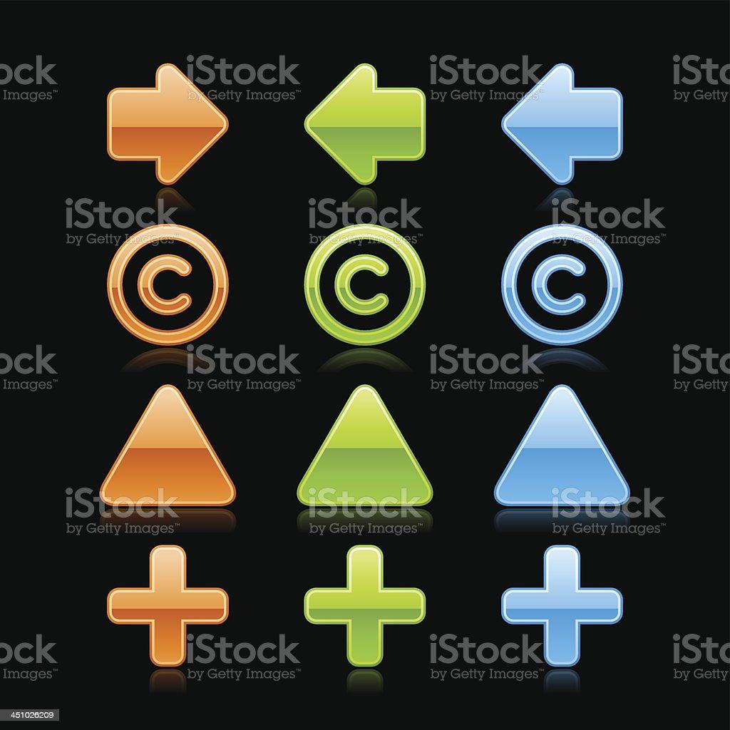 Arrow copyright plus triangular pin sign glass button web icon royalty-free stock vector art