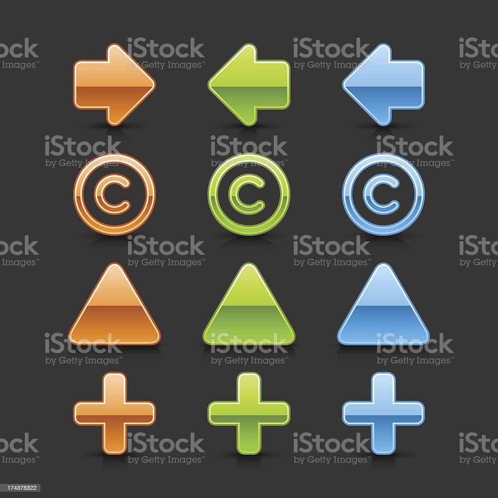 Arrow copyright plus triangular pin sign web icon glass button vector art illustration
