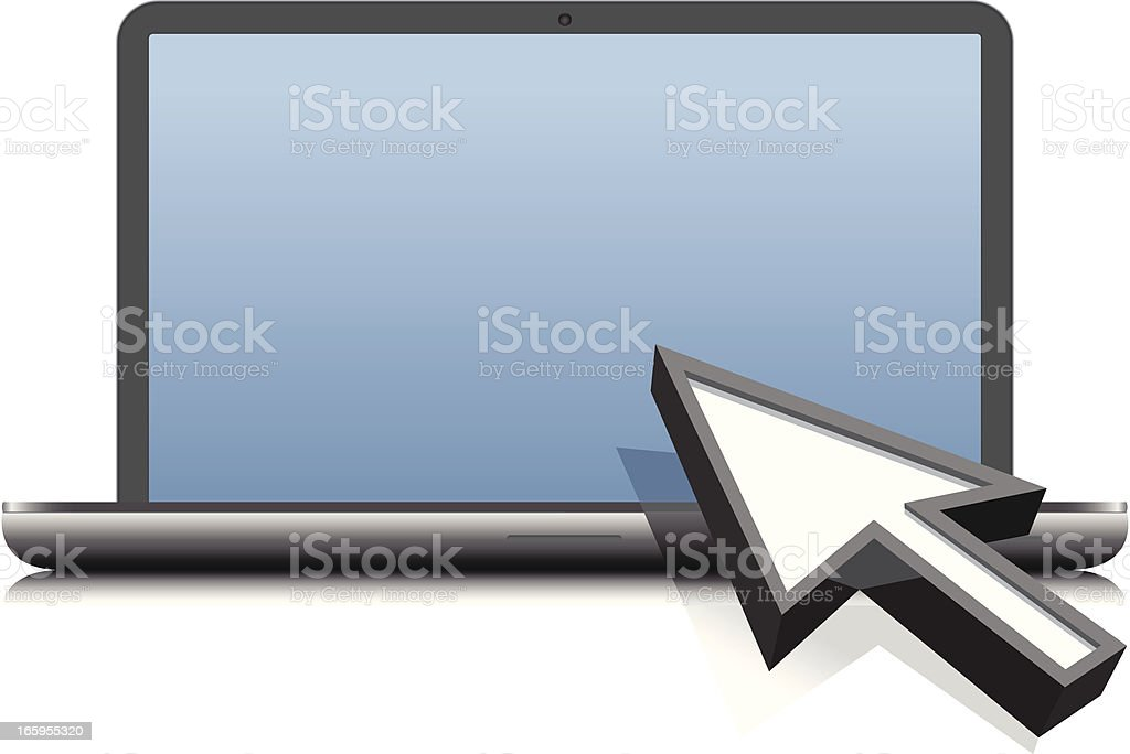 arrow cursor with laptop royalty-free stock vector art