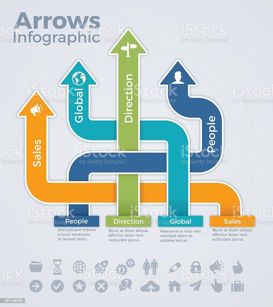 Arrow Direction Infographic Template vector art illustration