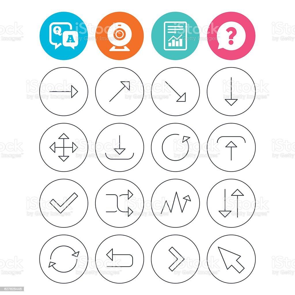 Arrow download, refresh and fullscreen symbols. vector art illustration