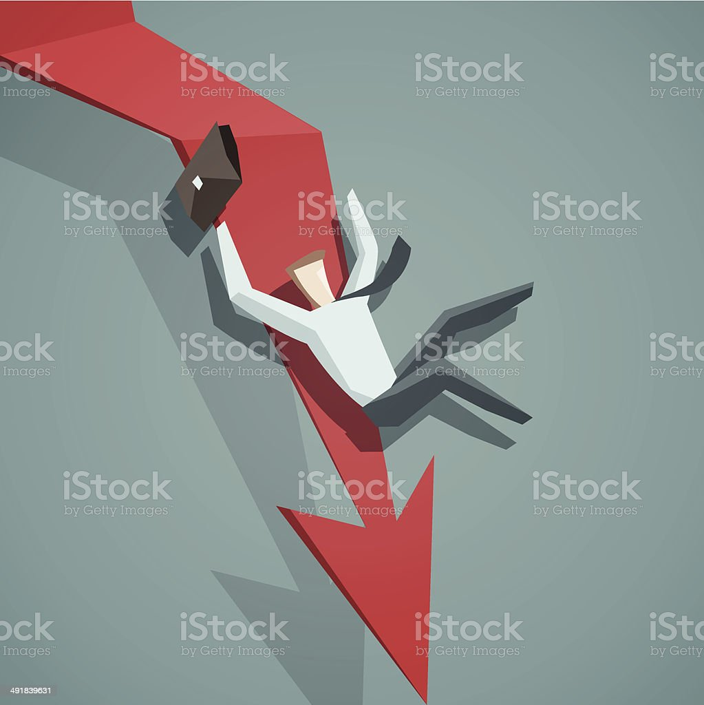 Arrow graph going down and businessman is falling down vector art illustration
