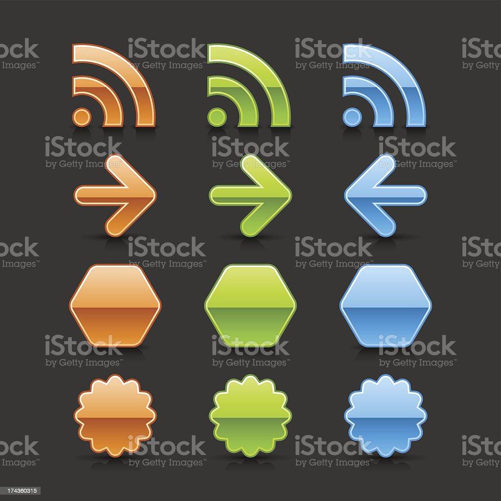 RSS arrow hexagon circle sign  web icon glass button royalty-free stock vector art
