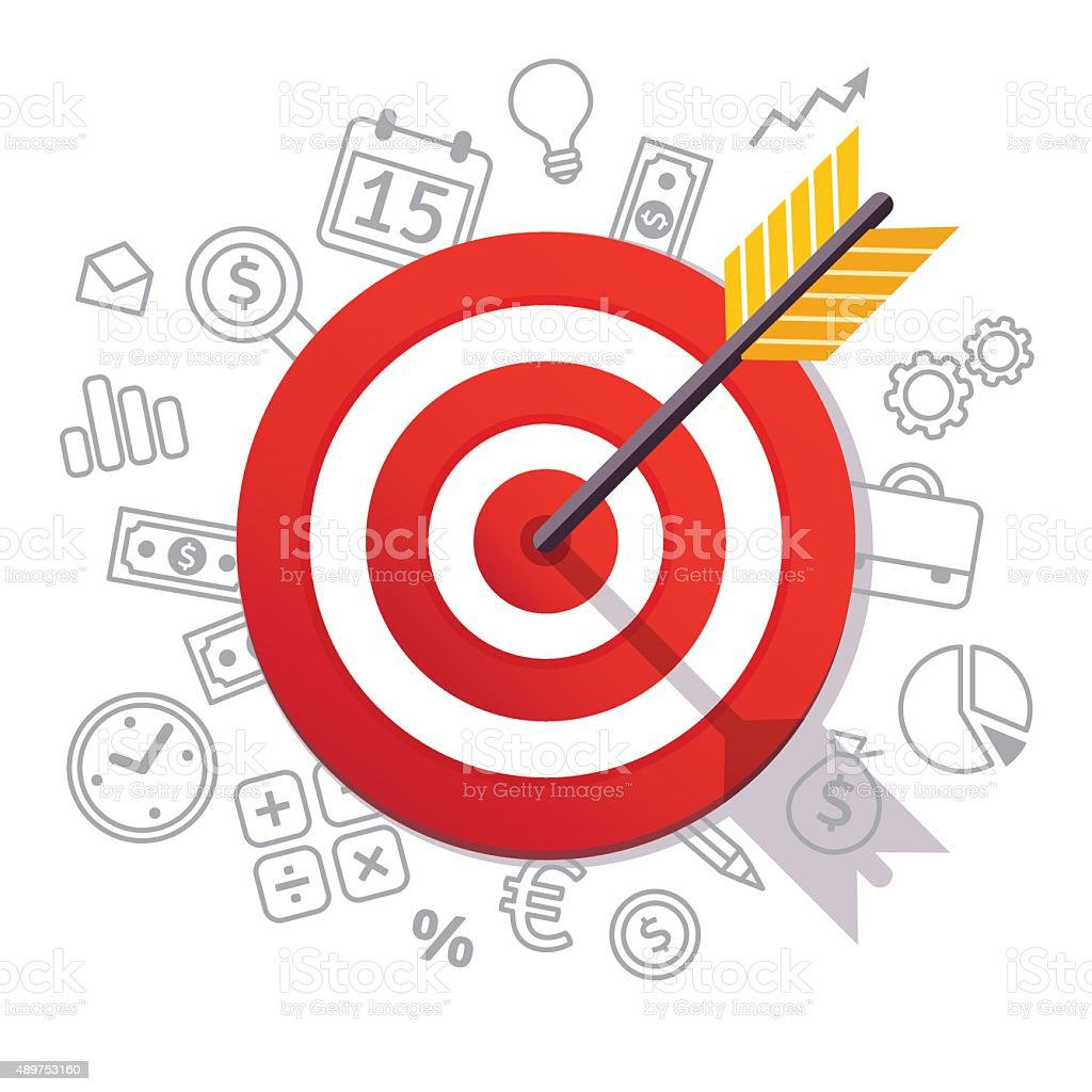 Arrow hits target center. Business success concept vector art illustration