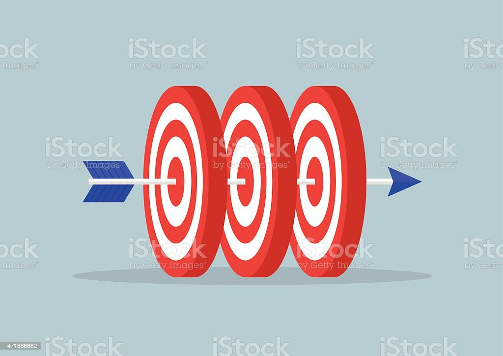Arrow hitting center of the three targets vector art illustration