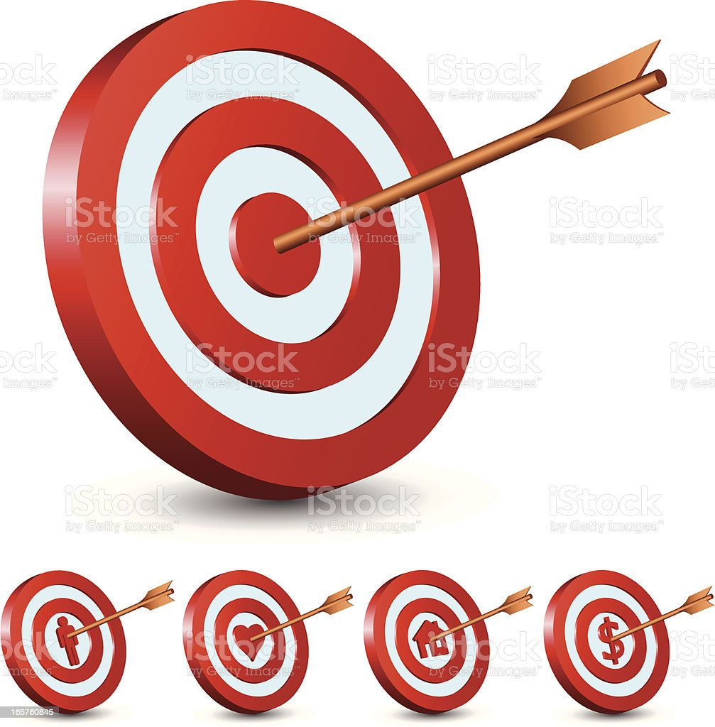 Arrow hitting many targets of success royalty-free stock vector art