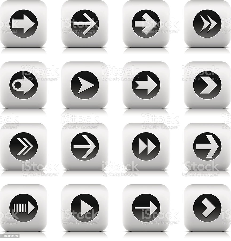 Arrow icon rounded square gray button reflection shadow white background royalty-free stock vector art