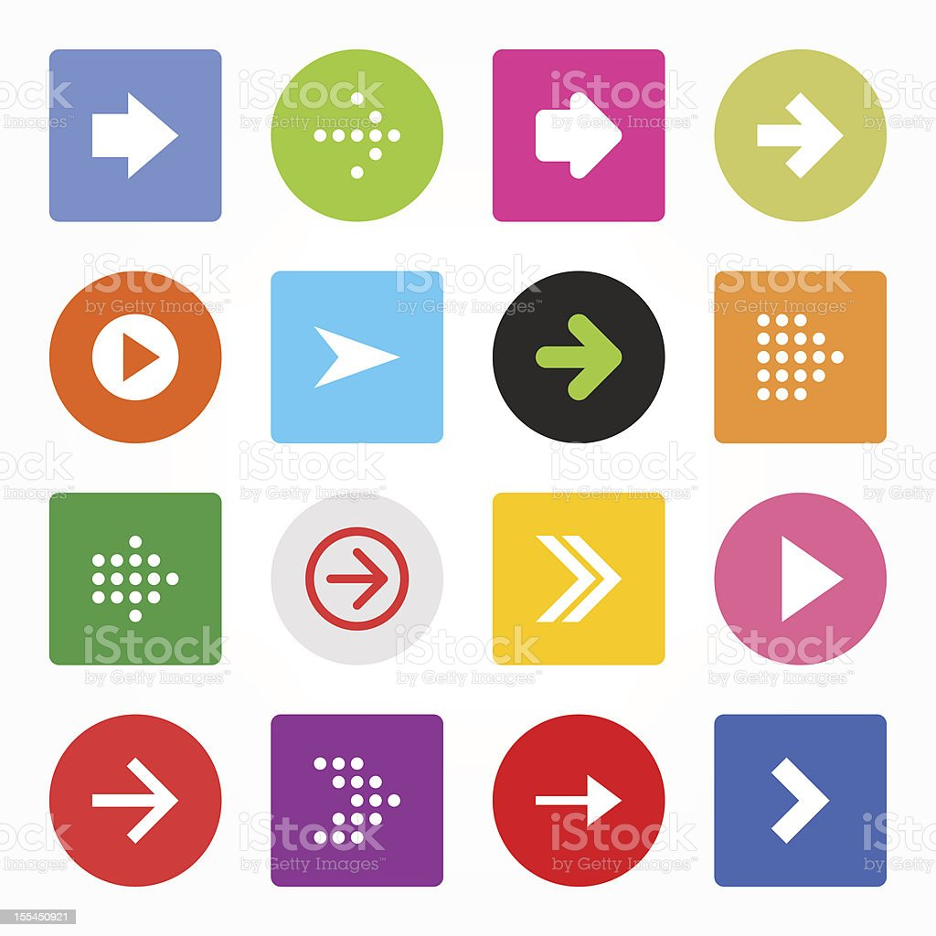 Arrow icon set circle rounded square button simple contemporary style royalty-free stock vector art