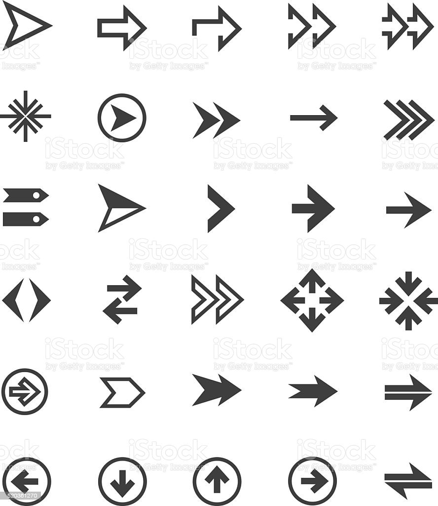 Arrow icon set vector art illustration