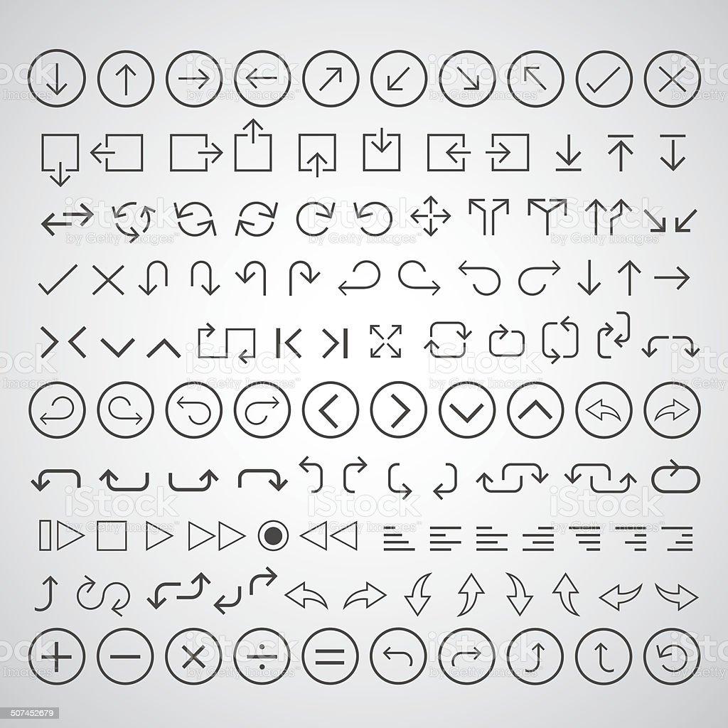 arrow icons set vector art illustration