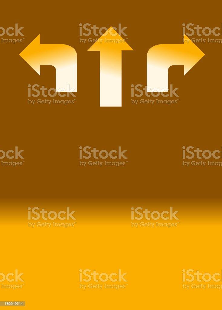 Arrow in three direction on background royalty-free stock vector art