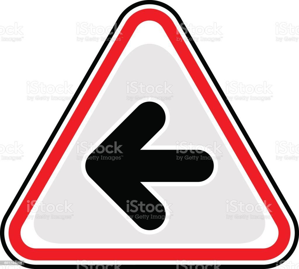 Arrow Left Sign Triangular Sticker Icon vector art illustration