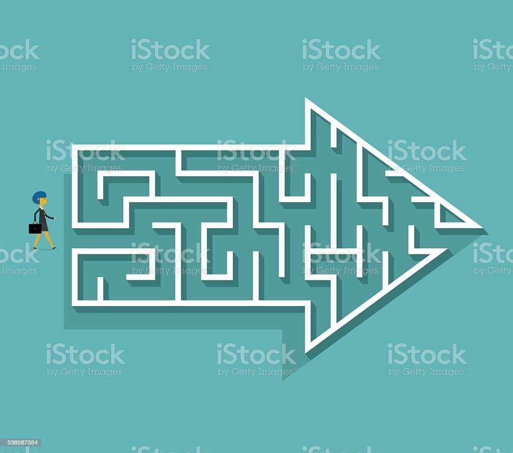 Arrow Maze vector art illustration