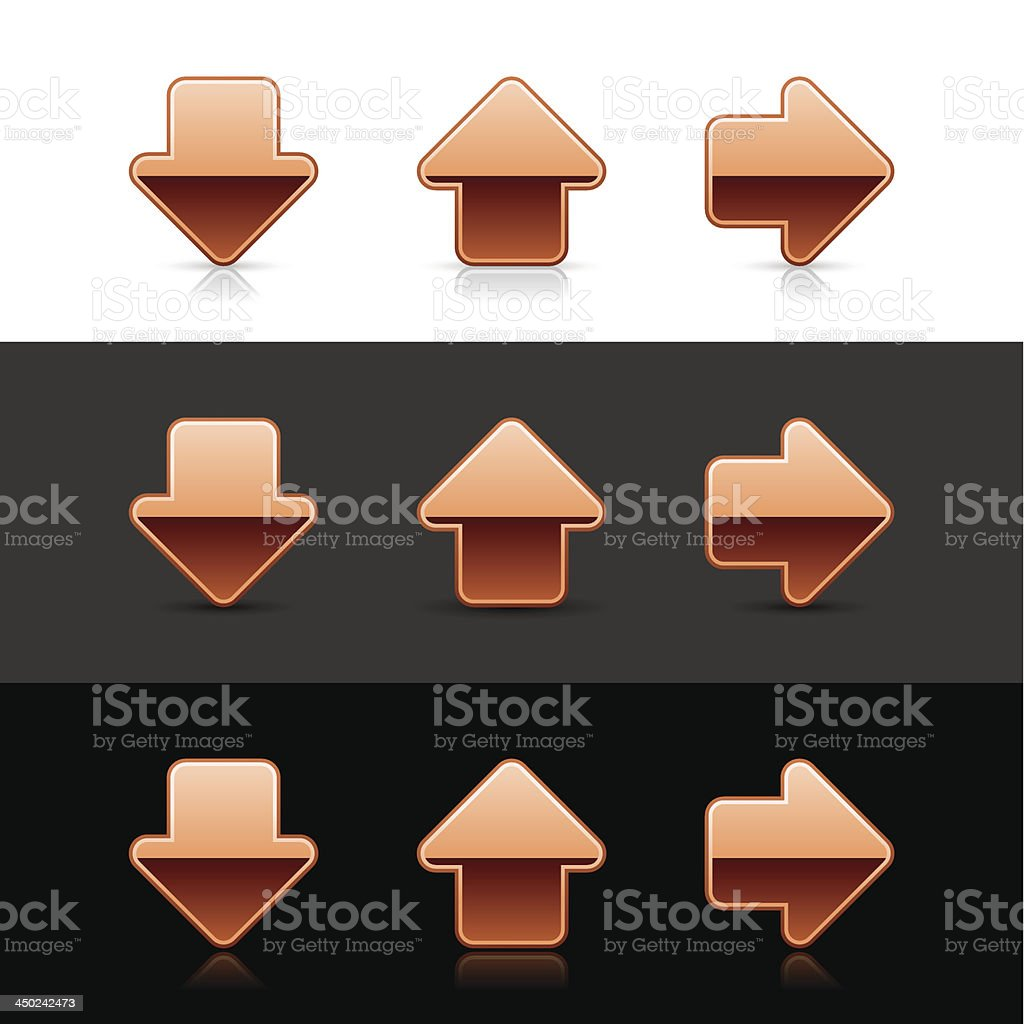 Arrow metal sign bronze web button download upload right icon royalty-free stock vector art