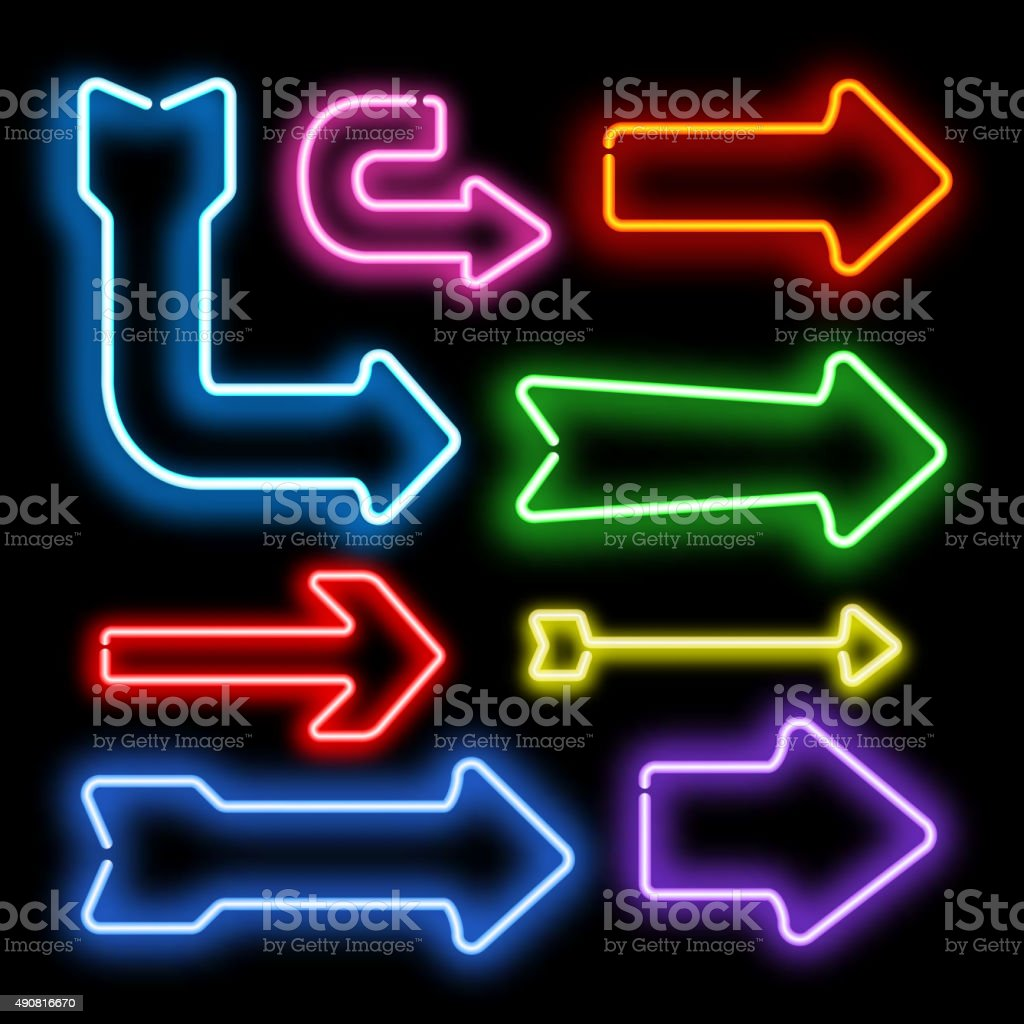 Arrow neon light vector vector art illustration