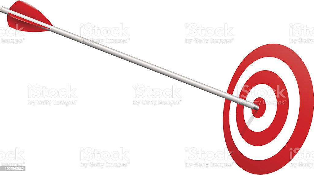 Arrow on Target Realistic Vector royalty-free stock vector art