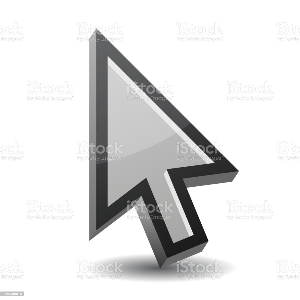 Arrow pointer isolated on white royalty-free stock vector art