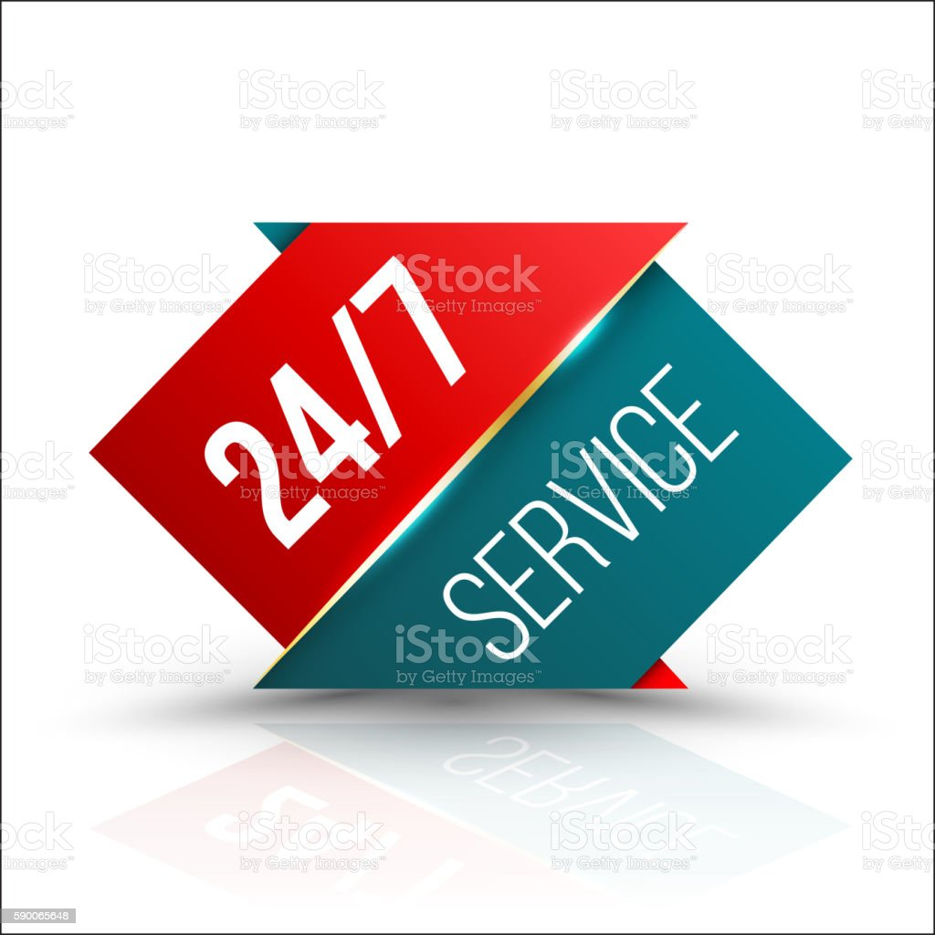 Arrow red green Service 24/7 Icon vector art illustration