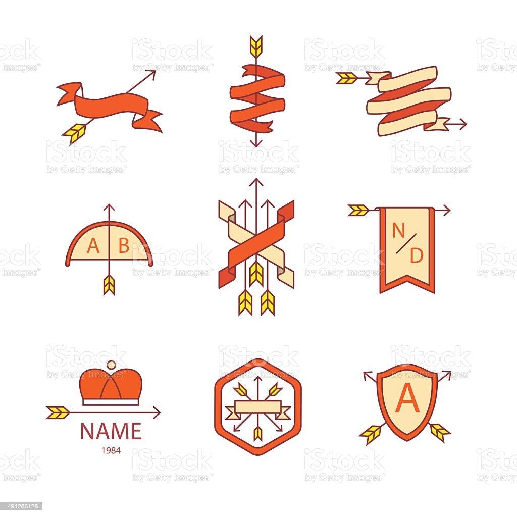 Arrow ribbon logo and emblem thin line icons set vector art illustration