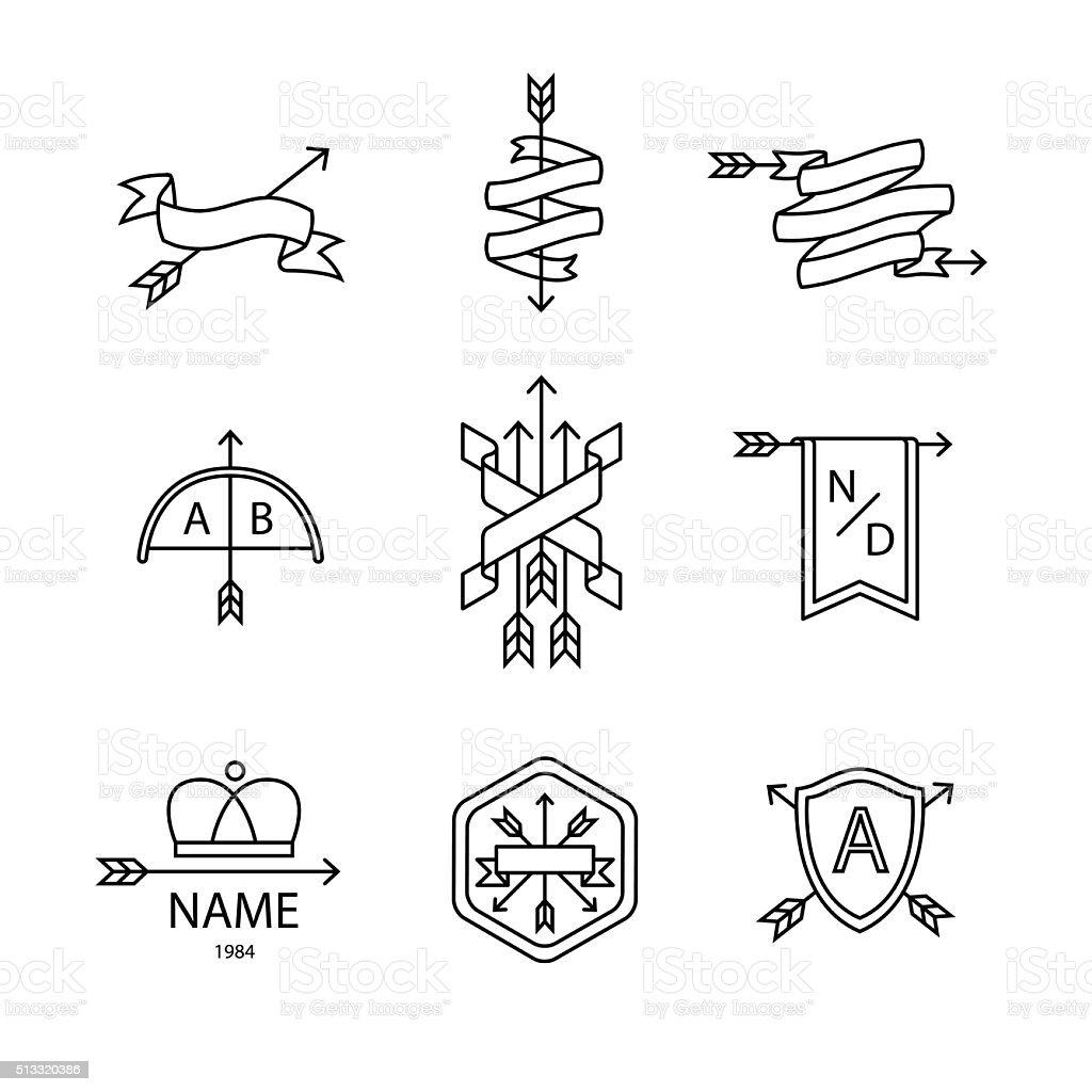 Arrow ribbon logo and emblem vector art illustration