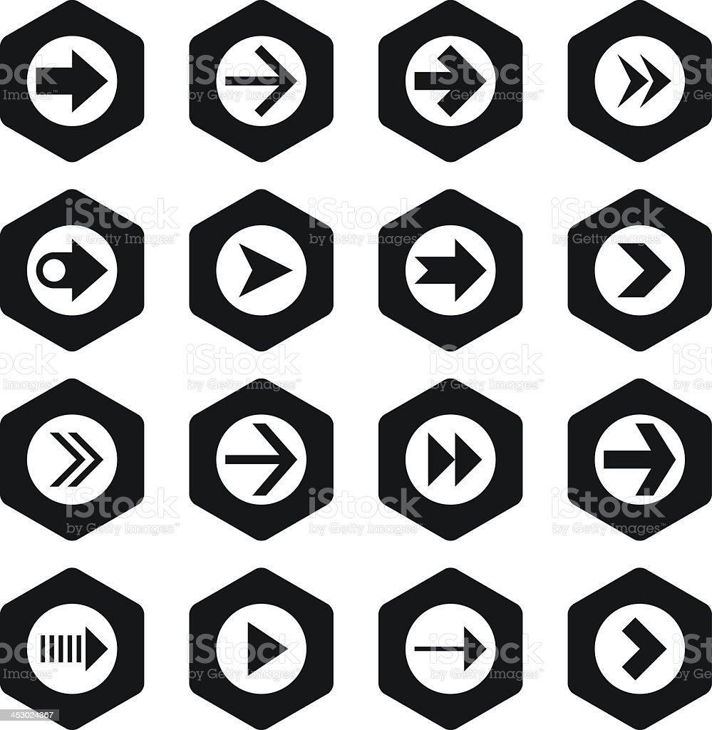 Arrow sign black hexagon button icon plain simple flat style royalty-free stock vector art