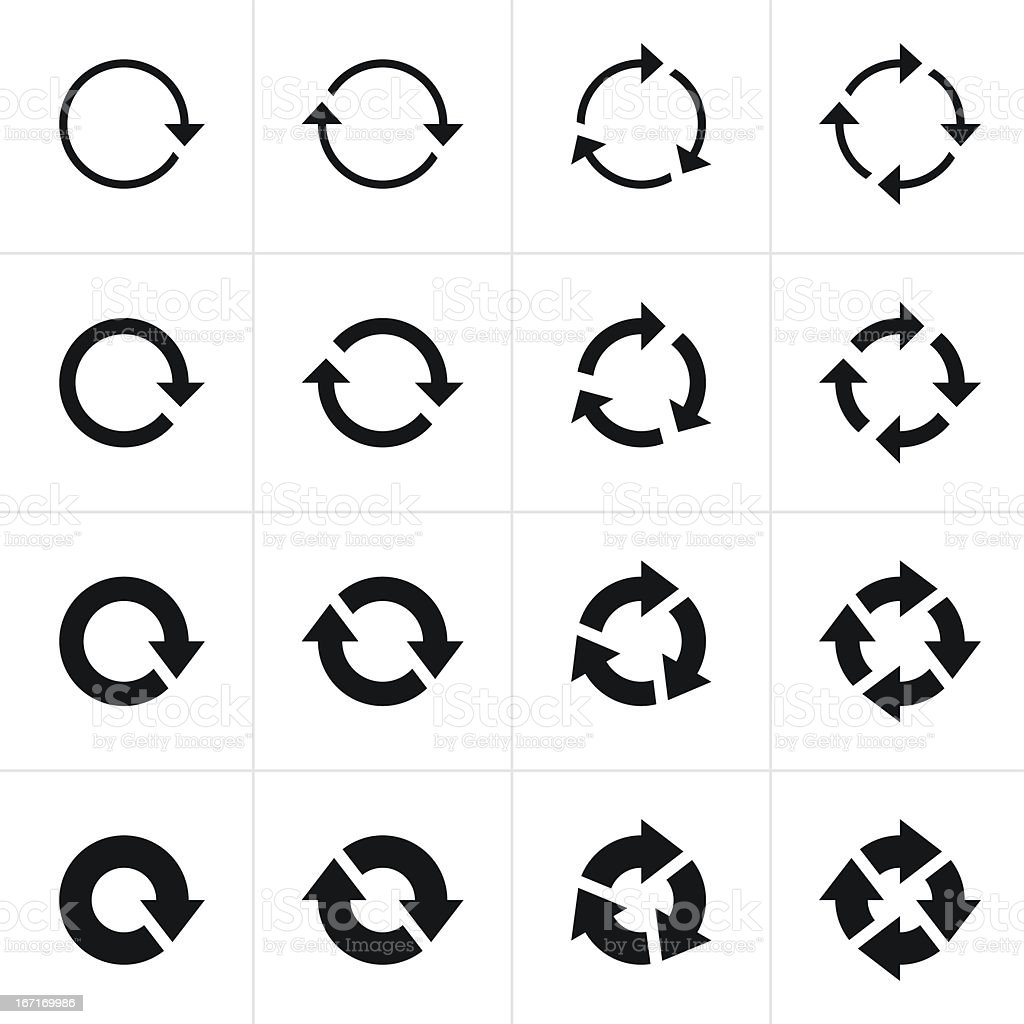 Arrow sign black icon refresh reload rotation loop pictogram vector art illustration