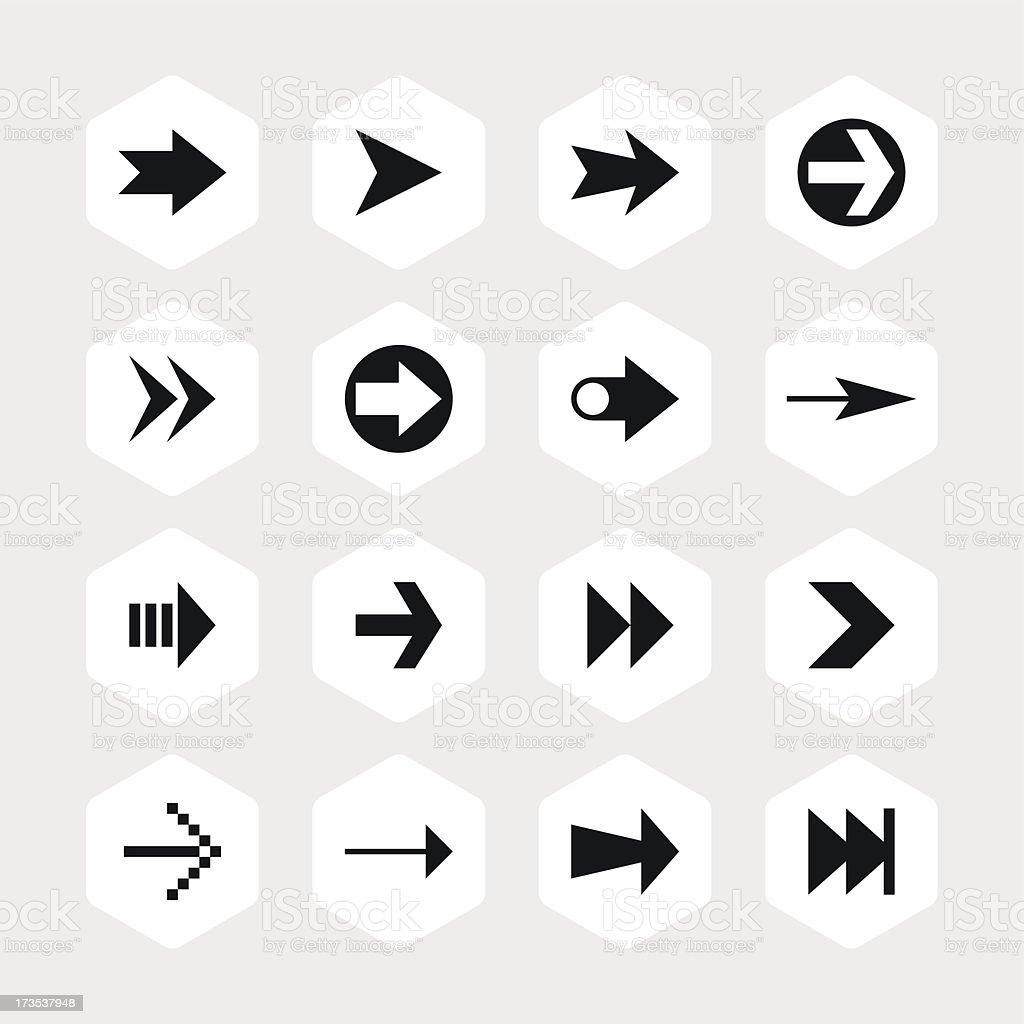 Arrow sign black pictogram white icon hexagon button royalty-free stock vector art