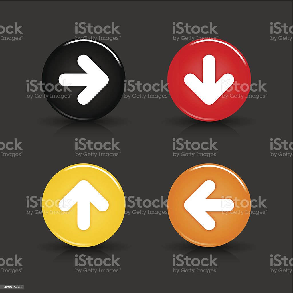 Arrow sign circle icon glossy black red yellow orange button royalty-free stock vector art