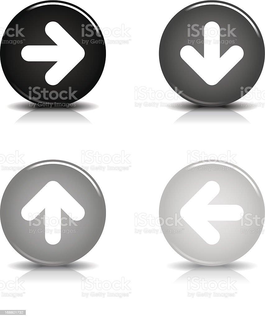 Arrow sign circle icon glossy gray black button reflection shadow royalty-free stock vector art