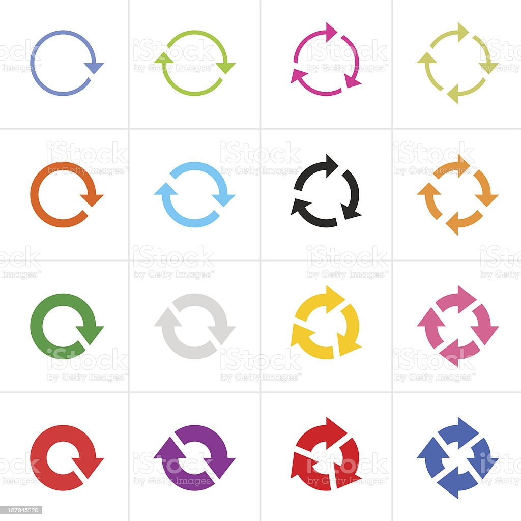 Arrow sign colored icon refresh reload rotation loop simple pictogram vector art illustration