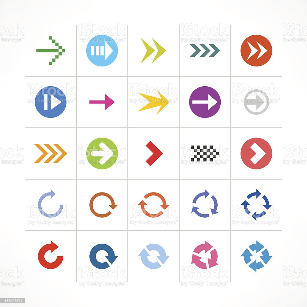 Arrow sign direction pictogram color minimal simple icon web button royalty-free stock vector art