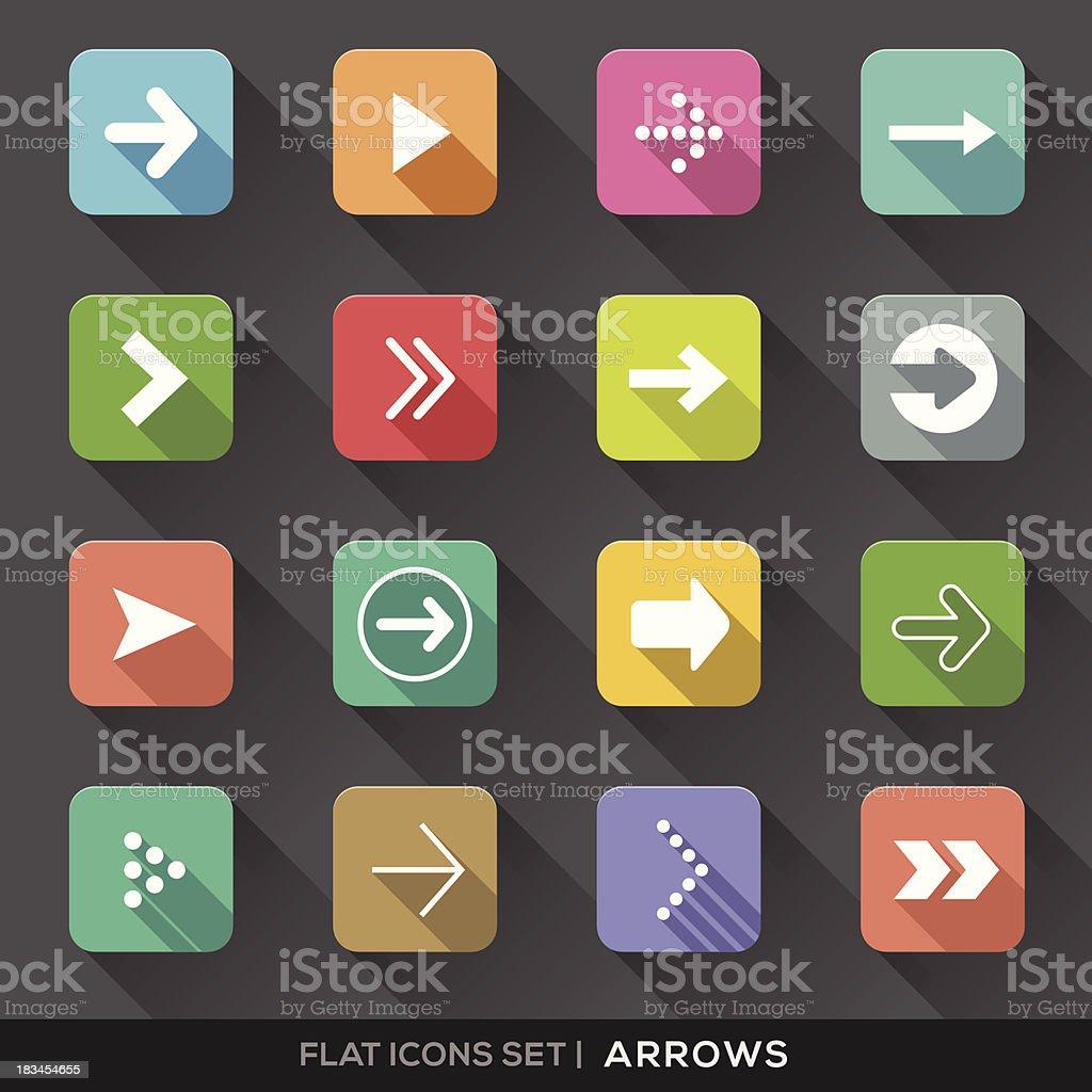 Arrow Sign Flat Icons Set vector art illustration