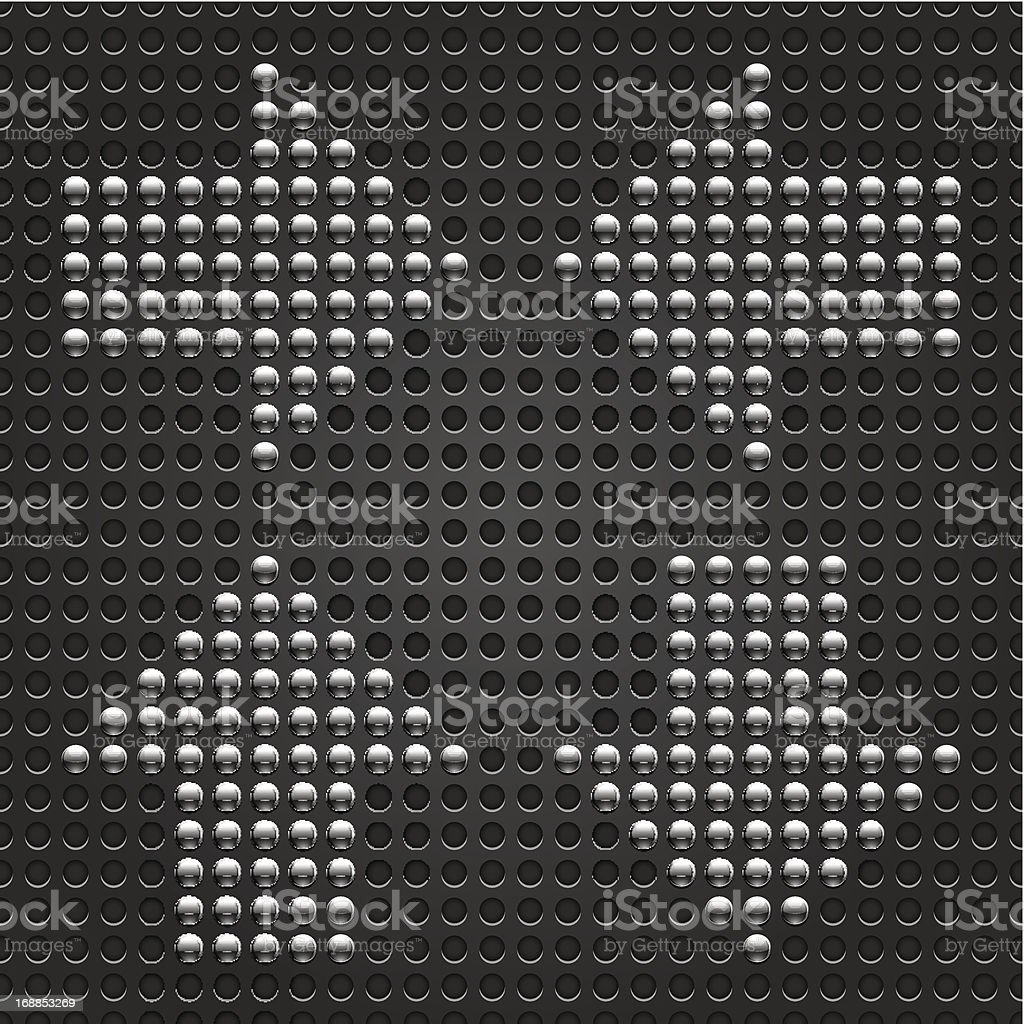 Arrow sign gray chrome metal circle shape black perforation texture vector art illustration