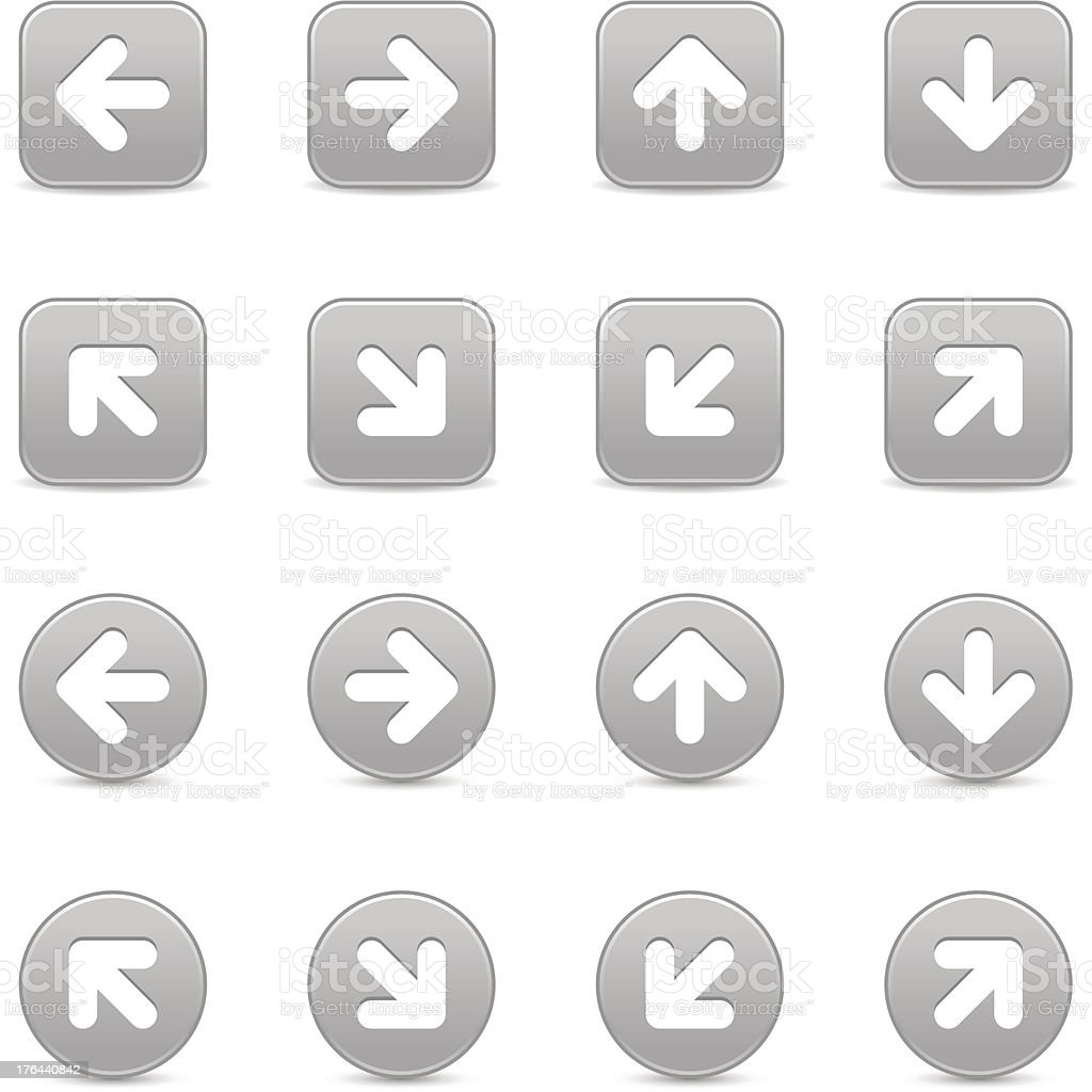 Arrow sign gray direction icon navigation button square circle shape vector art illustration