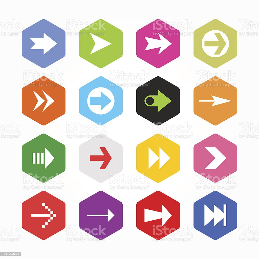 Arrow sign hexagon button icon set flat plain simple style vector art illustration