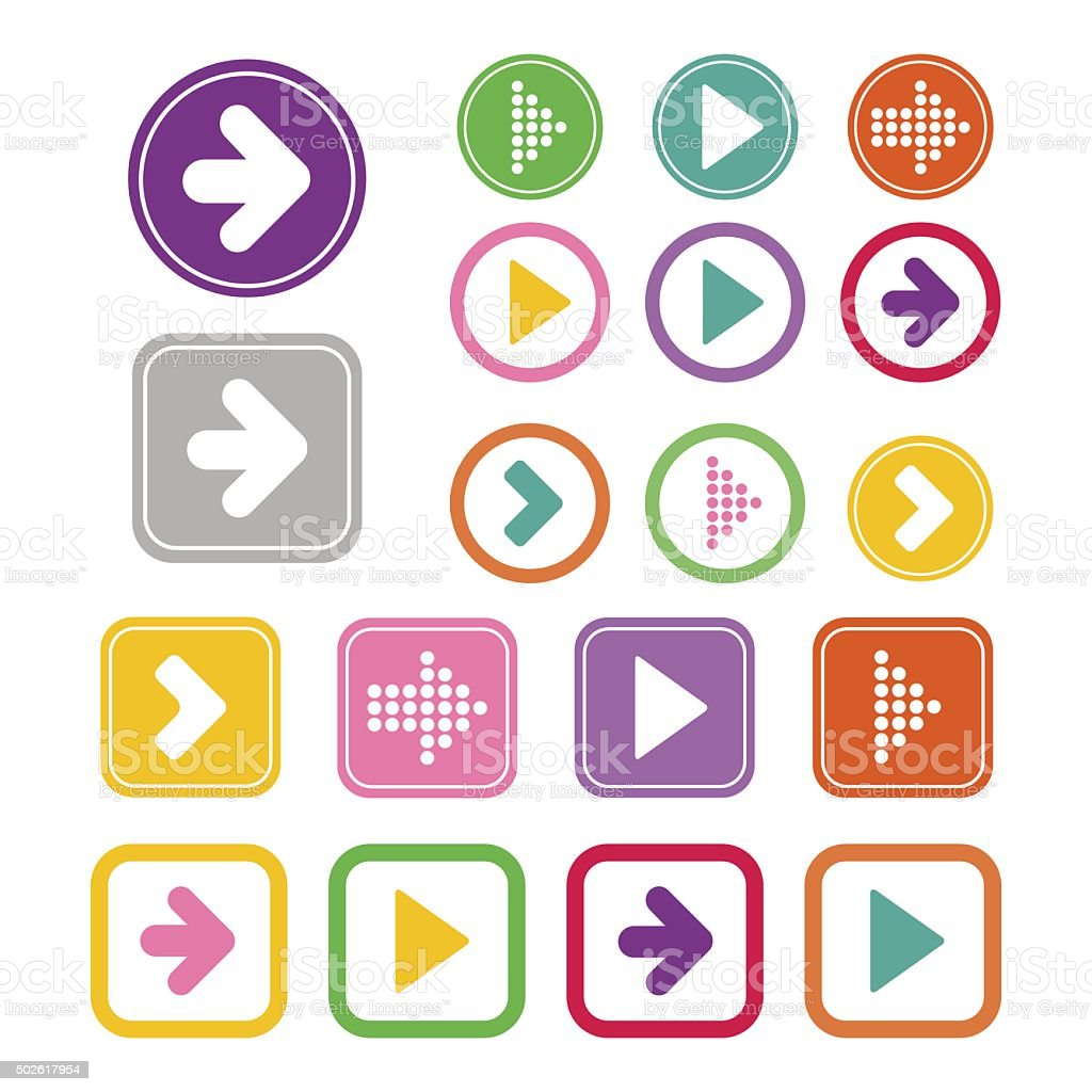Arrow sign icon set vector art illustration