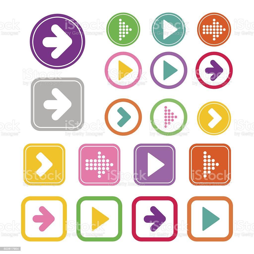 Arrow sign icon set vector art illustration