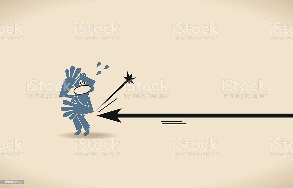 Arrow Sign Poking a Man royalty-free stock vector art