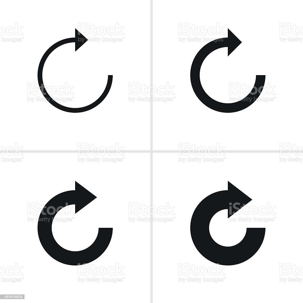 Arrow sign refresh reload loop rotation pictogram black icon vector art illustration