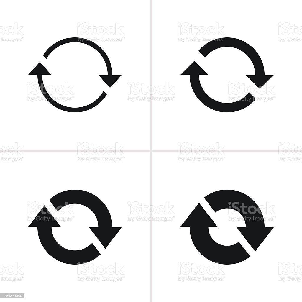 Arrow sign reload rotation loop refresh pictogram black icon vector art illustration