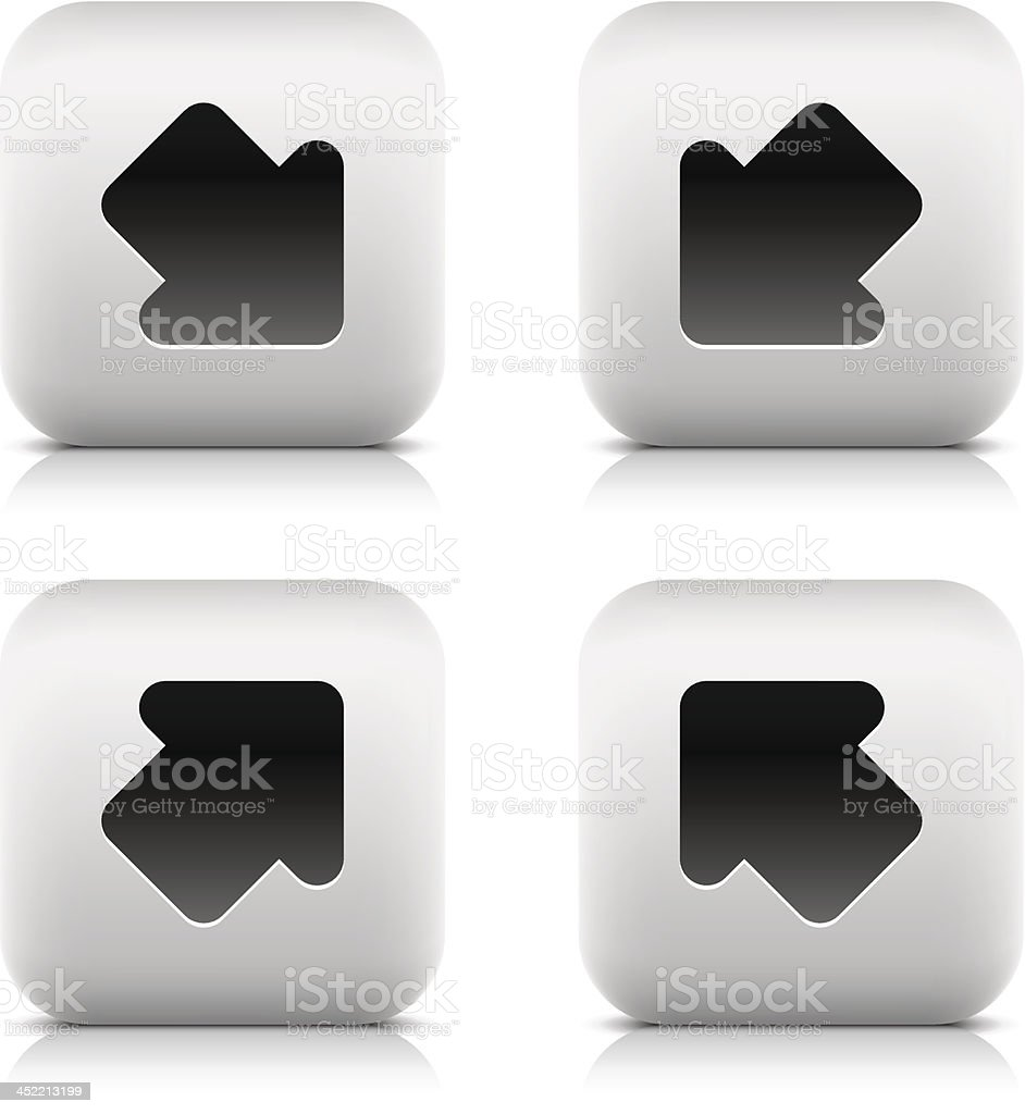 Arrow sign rounded square icon black pictogram web internet button royalty-free stock vector art