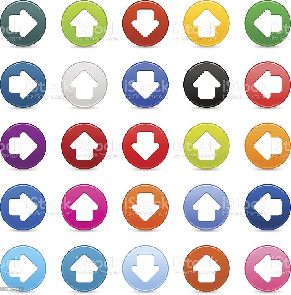 Arrow sign satin circle icon web internet button reflection shadow royalty-free stock vector art