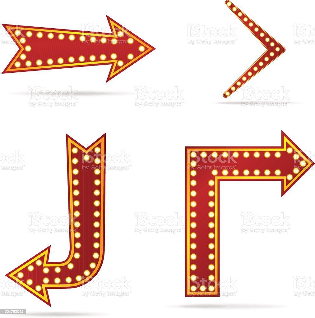 Arrow sign with bulbs vector art illustration