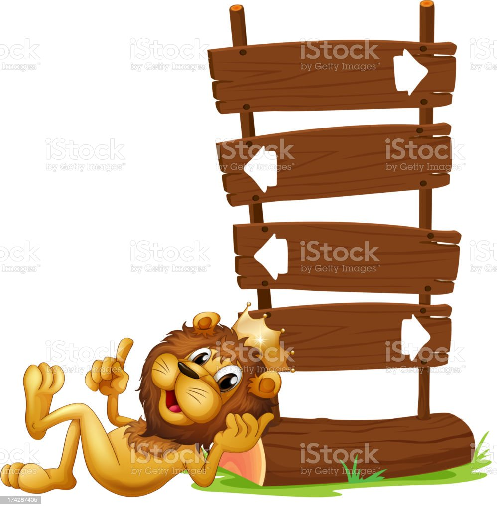 Arrow signages with a king lion royalty-free stock vector art