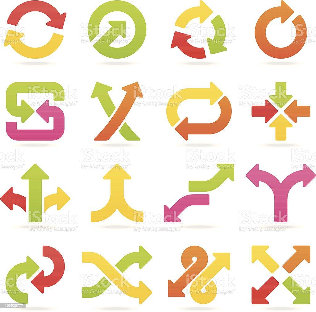arrow signs color set I vector art illustration