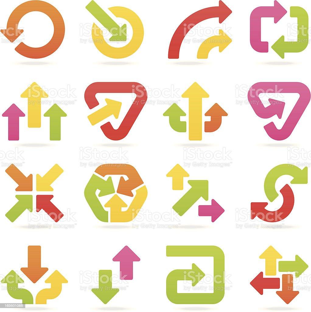 arrow signs color set III vector art illustration