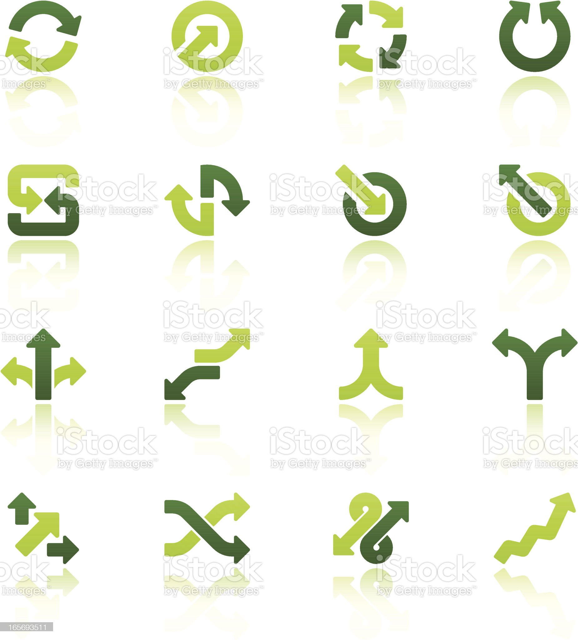 arrow signs icon set V fresh reflection royalty-free stock vector art