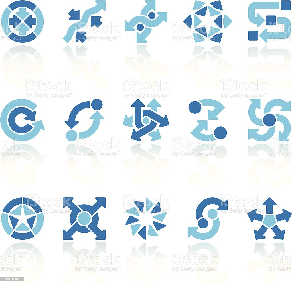 arrow signs set blue IX vector art illustration